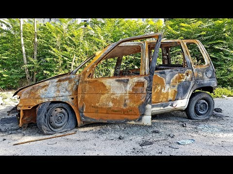 Abandoned Daewoo Tico destroyed by flames