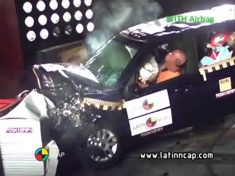 Crash test com o Fiat Palio - com airbag. LATIN NCAP