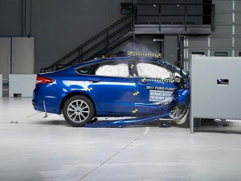 2017 Ford Fusion passenger-side small overlap IIHS crash test