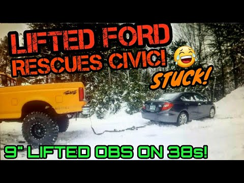 SICK OF WINTER! 9' LIFTED OBS FORD ON 38s SAVES HONDA FROM CERTAIN DEMISE! :)