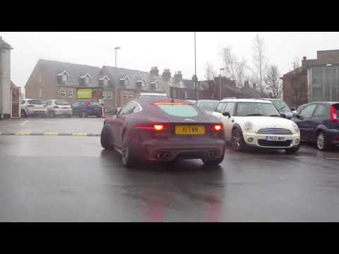CRAZY LOUD JAGUAR F-TYPE R LOOSING TRACTION IN THE RAIN!