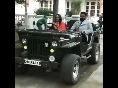 Himanshi khurana drive jeep with Amrit Maan on the Shoot 2018