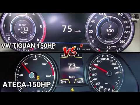 Seat Ateca 2.0tdi (150hp) VS VW Tiguan 2.0tdi (150hp) - Top Speed